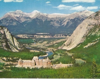 Vintage 1960s Postcard Banff Springs Hotel Alberta Canada Scenic Aerial View Rocky Mountains Stunning Panorama Photochrome Postally Unused
