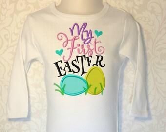 First Easter Shirt, Girls Easter Shirt, Baby Girls Easter, First Easter, Boutique Easter, Seersucker, Gingham Easter