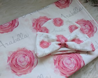 Personalized baby rose name hat and swaddle blanket set: baby and toddler personalized name newborn hospital gift baby shower gift