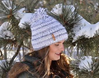 Double Brim Knit hat.Fisherman women hat.Ready to ship hat. Adult hats. Gift ideas for Her. Hat with Pom pom.