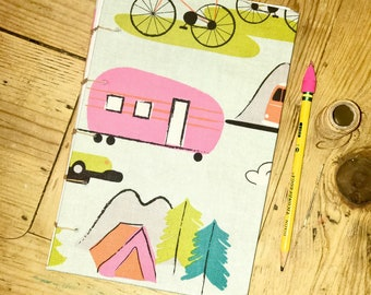 Travel inspired journal, coptic stitch, 80 white pages