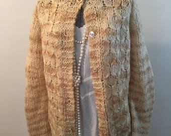 60s Hand Knit Cabled Cardigan in Mohair