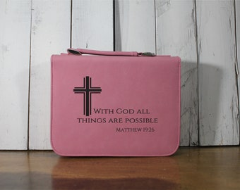 Bible Cover - All Things are Possible with God/Matthew 19:6/Bible Verse/Mother's Day Gift/Leatherette/Zipper/Fast Shipping/Confirmation Gift