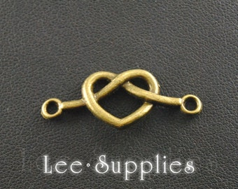 10pcs Antique Bronze Alloy Knot Eternity Love Heart Connector Charms A169
