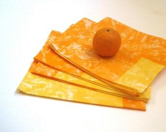 table napkins Marimekko set of 4 / kitchen food home decor in orange gold (hostess gift idea)