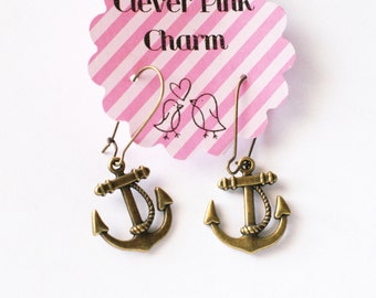 Nautical Anchor Charm Earrings