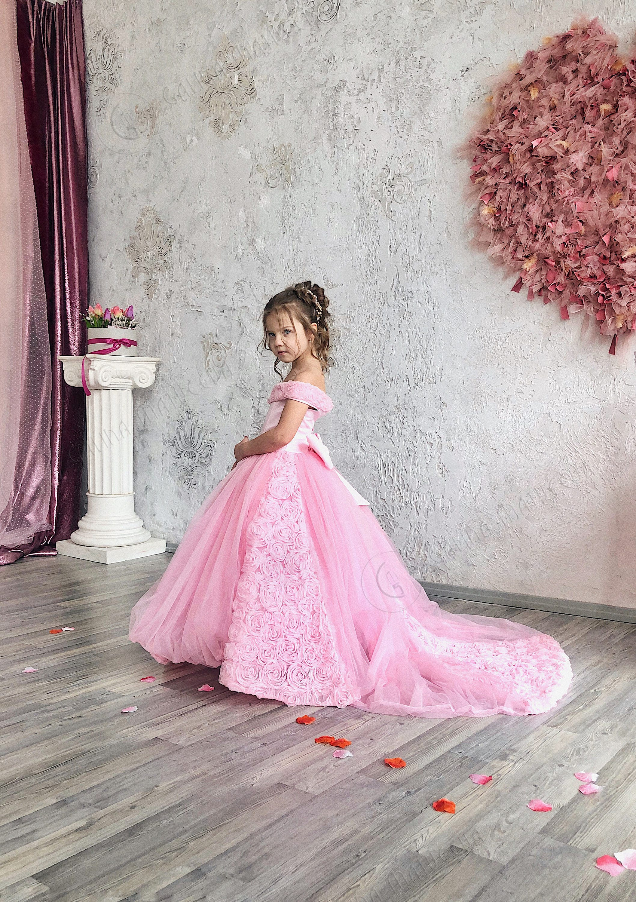 Pink Flower Girl Dress Birthday Wedding party Bridesmaid