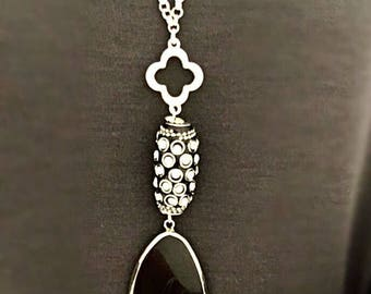 Long Black Pendant Necklace, One of a kind