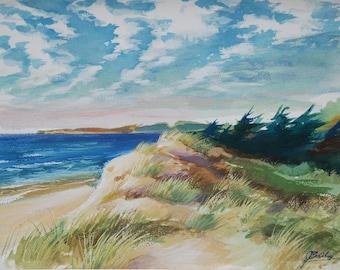 Original watercolor, beach on the island of Noirmoutier, France