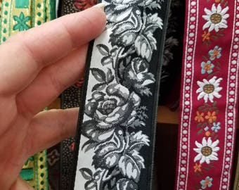 Black & White Rose 1 1/2 inch wide sold by the yard