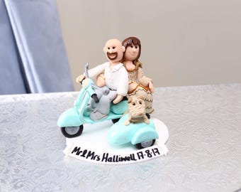 Handmade personalised polymer fimo clay vespa scooter bike wedding cake topper