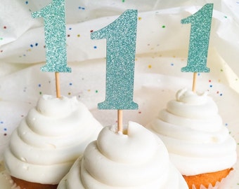 Blue Glitter Number Cupcake Toppers • Birthday • Food Pick
