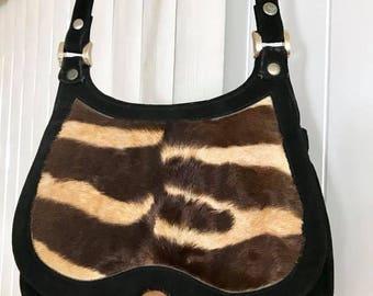 Meowww Tiger!  Killer Vintage 60's 70's Suede and Dyed Pony Hand Bag -- Rocker -- Boho