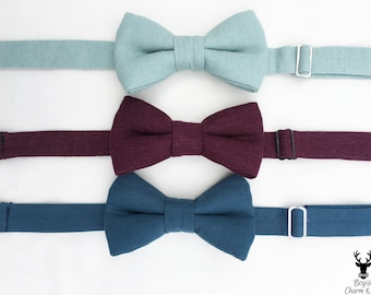 Boys Burgundy, Bow Tie, Baby Bow Tie, Bowtie for Boys,  Toddler Bow Tie, Boys Teal Bow Tie Dusty Blue Bow Tie, Ring Bearer Outfit