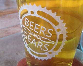 Cycling Gift Beers and Gears Beer Glass, Etched Pint Glass, Cyclist Gift, Gift for Cyclist, Bicycle Gift, Gearhead, Riding Bicycling