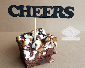 CHEERS TO BEERS Cupcake Toppers - Beer Theme Cupcake Toppers - Beer Party - Party Decorations - Birthday Decor - Brownie Toppers