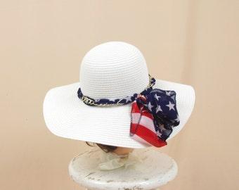 Red White Blue Hat, Flag Hat, Floppy Hat, Patriotic Hat, Fourth of July Hat, Sun Hat, Wide Brim Hat, Summer Hat, Flag Scarf