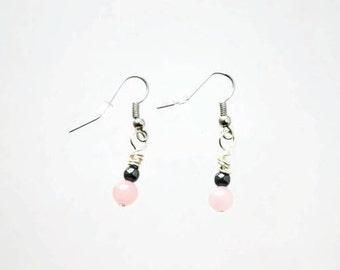 Rose Quartz and Hematite Dangle Earrings