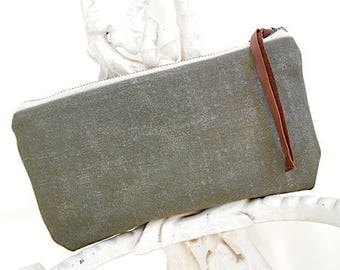 Waxed military canvas utility pouch, tool, iPhone case - eco vintage fabrics