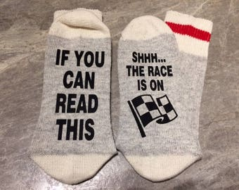 If You Can Read This ... Shhhh... The Race Is On (Word Socks - Funny Socks - Novelty Socks)