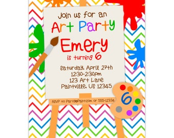 Art Party Invitation - Rainbow Chevron, Primary Colors, Paint and Easel Artist Personalized Birthday Party Invite - Digital Printable File