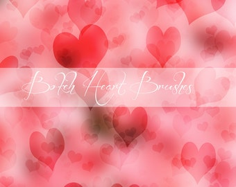 Photoshop Heart Brushes, Bokeh Brushes, Heart Brush, Photoshop Brush, Valentine Heart,