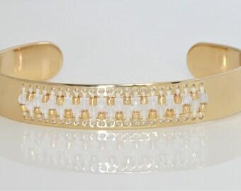 white moonstone and gold adjustable cuff-metal-centerline bracelet-beaded cuff-seed bead cuff-gemstone-bead loom-czech tri-cut seed beads