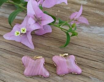 1950's Pink Murano Glass cufflinks by Swank Designer Series,Gold Tone Metal, Mid Century, Amoeba, Estate, Special Occasion,Viva, Rockabilly
