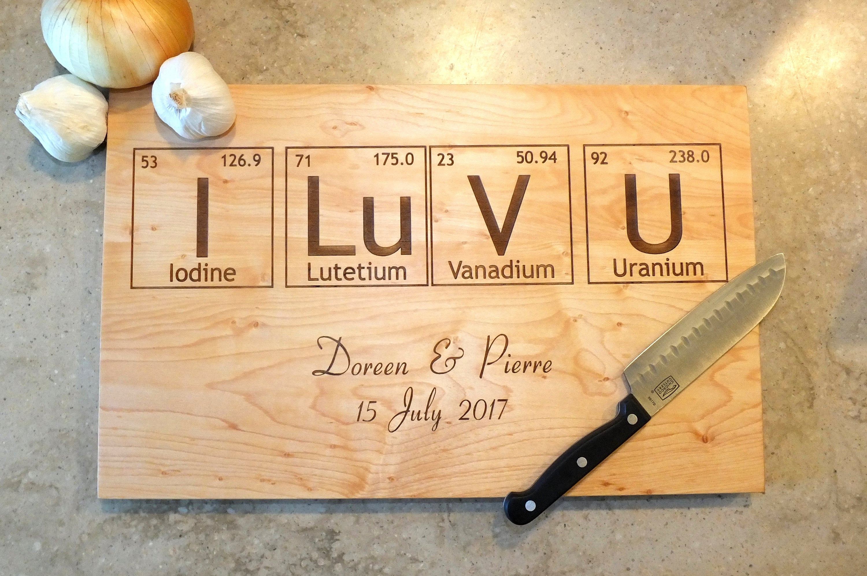 Periodic table cutting board engraved with names wedding date in 1 urtaz Images