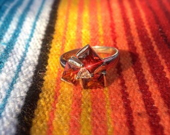 Sterling Silver and Triple Garnet Ring