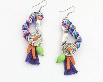 Multicolor bohemian Earrings, Statement Earrings, Hoop Earrings, Tassel Earrings, Long Earrings