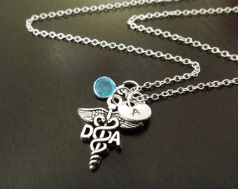 DA Dental Assistant Handstamped Personalized Crystal Birthstone Initial Necklace