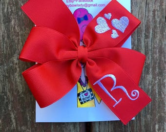 Monogrammed Embroidered Heart Hair Bow