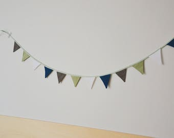 Fabric Pennants | Fabric Garland | Wall Decoration | Wallhanging · Coloring | Geburtstagsdeko · Mint | Dark blue | White | Dots