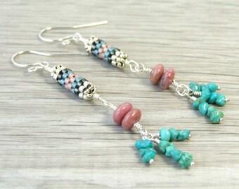 Genuine Turquoise Earrings Pink Rhodonite Earrings Boho Dangle Earrings Bohemian Jewelry Boho Gypsy Jewelry Sterling Silver Stone Earrings