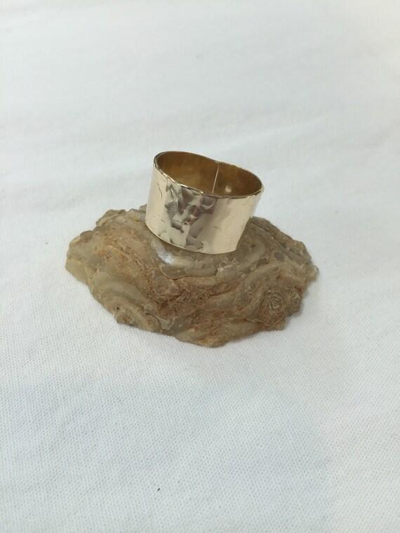 Gold Cigar Band Ring 14K Gold Gold Filled Ring Hammered