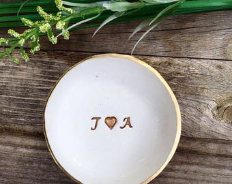 Personalized Ring Holder/ GOLD and WHITE/ Monogrammed Jewelry Dish/ Engagement Gift/ Jewelry Display/ Wedding and Shower/ Sorority