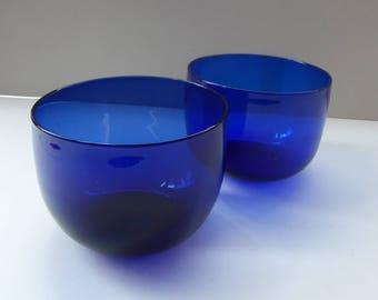 Pair of Antique BRISTOL BLUE Glass Finger Bowls or Rinsers; 19th Century. Nice Large Size and in Excellent Condition