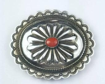 Native American Navajo handmade Sterling Silver Coral stone belt buckle