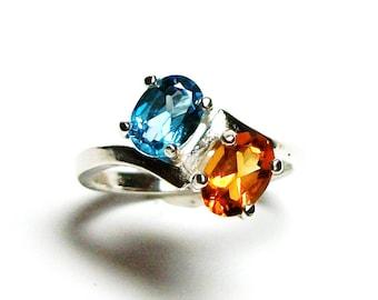 "Madeira citrine,  citrine topaz ring, 2 stone ring, birthstone ring, sweetheart ring, orange blue ring, s 6 3/4     ""In Tandem"""