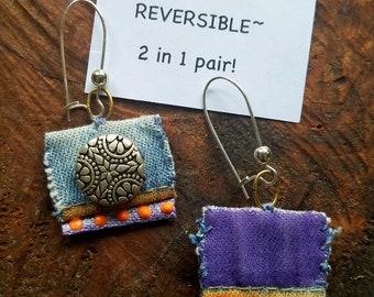 Handmade, Reversible 2 in 1 pair, Recycled Fabric & Denim