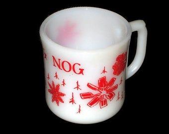 Vintage Fire king Egg Nog White Milk Glass Christmas Mug Cup Red Holiday Glass Made USA Oven Proof Snowflake Snowflakes