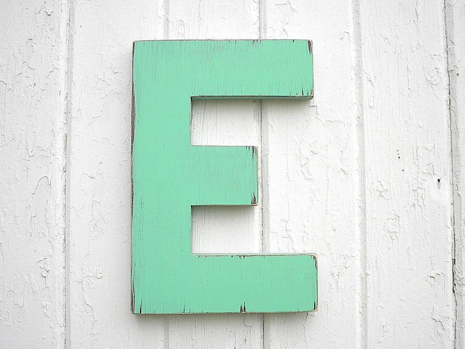 Wooden Letters E 12 inch Distressed Green Big Shabby chic