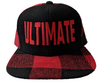 Ultimate Embroidered Black & Red Flannel Hat