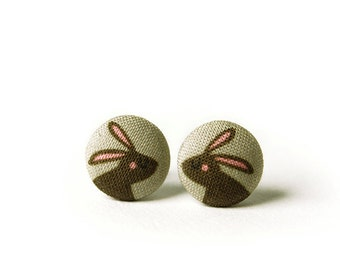 Bunny Stud Earrings, Rabbit, Fabric Buttons, Small Ear Studs, Earrings for Children, Gift for Her