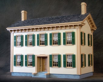 "Scale One Inch, Historic Mansion, Wooden Dollhouse Kit, ""Honest Abe"", 1:12 Scale"