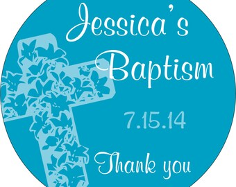 Custom Glossy Baptism / Christening / First Communion Stickers Labels Seals - many designs to choose from - Choose your size - CR-022
