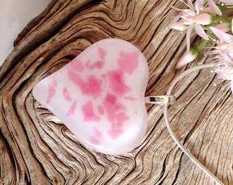 Pink Heart Pendant Necklace -  Fused Glass Jewelry - Pink and White - Valentines Day Gift