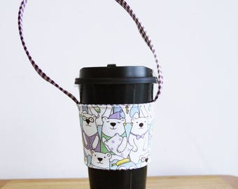 A84 Fabric coffee cup holder / Fabric coffee cozy / cup sleeve / drink sleeve / reusable coffee sleeve
