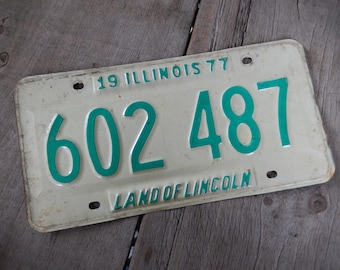 Vintage License Plate Illinois 1977 Rustic Garage, Industrial, Man Cave, Pub, Bar Decor, Wall Hanging, Home Decor